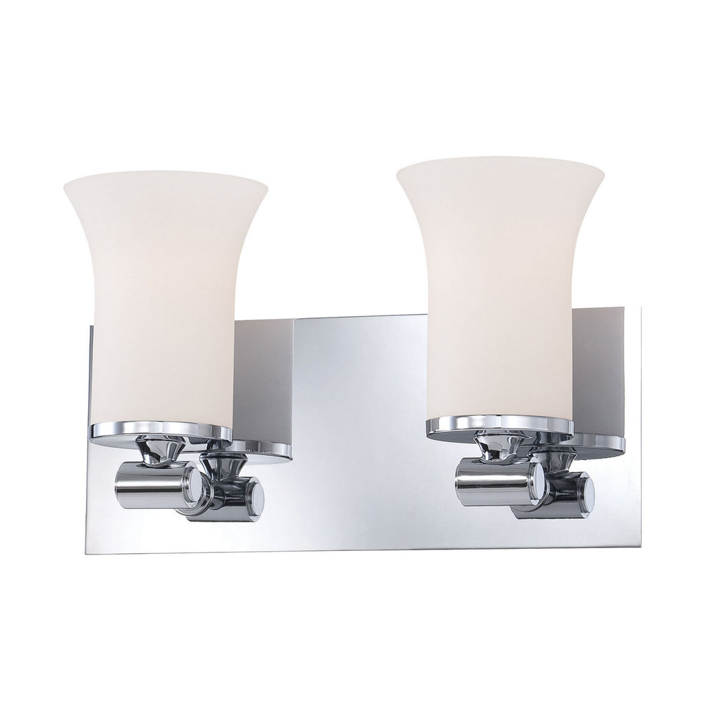 Flare 2-Light Vanity Light in Chrome with White Opal Glass