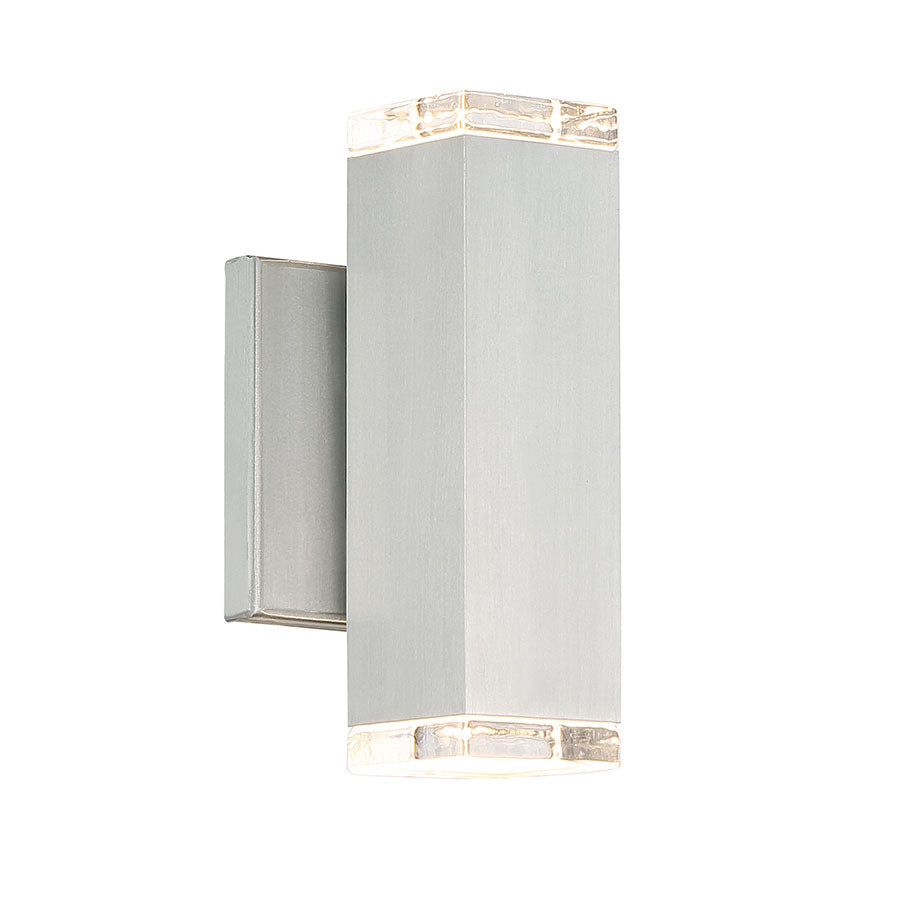 Block LED Wall Light In Brushed Aluminum