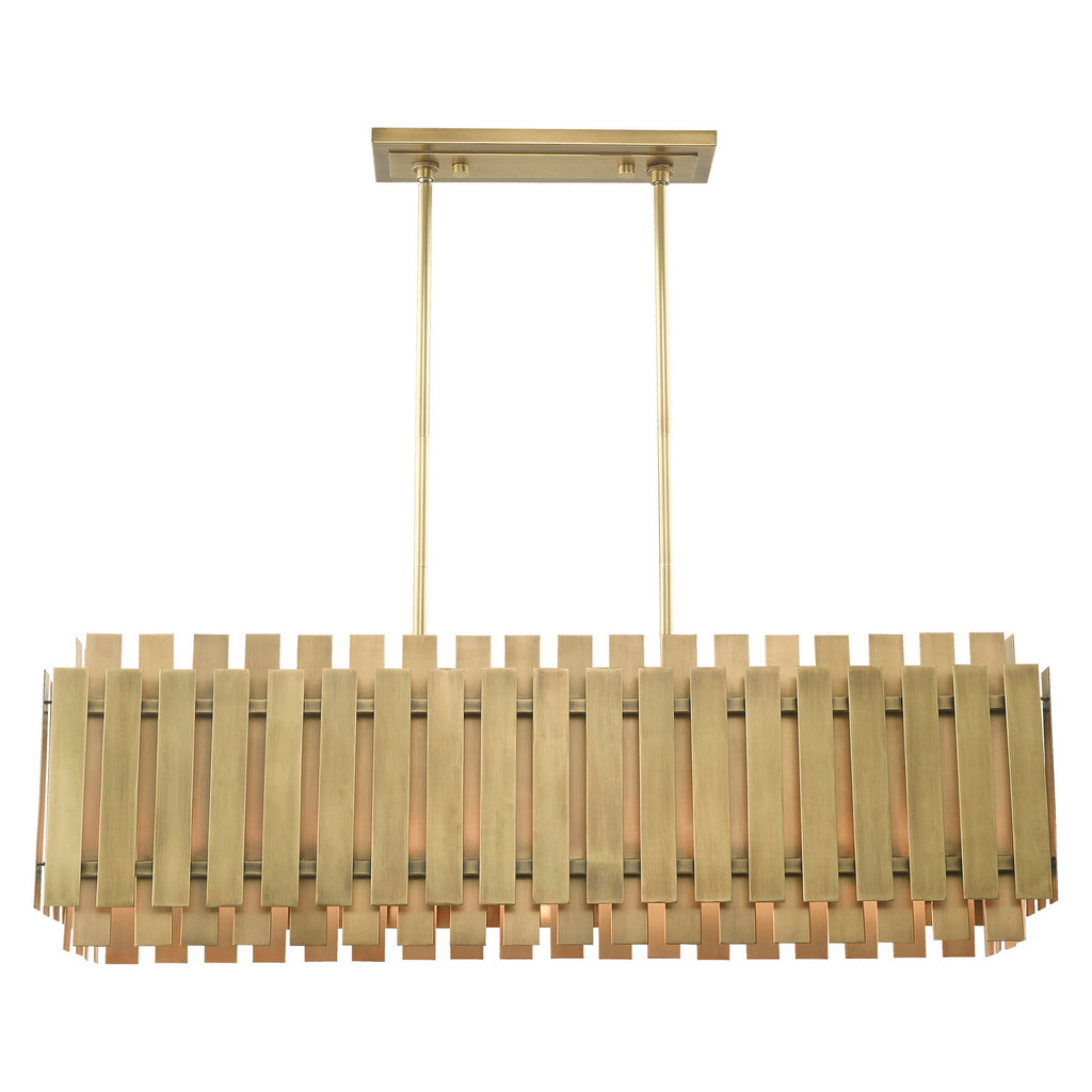 Greenwich 5 Light Linear Chandelier in Natural Brass