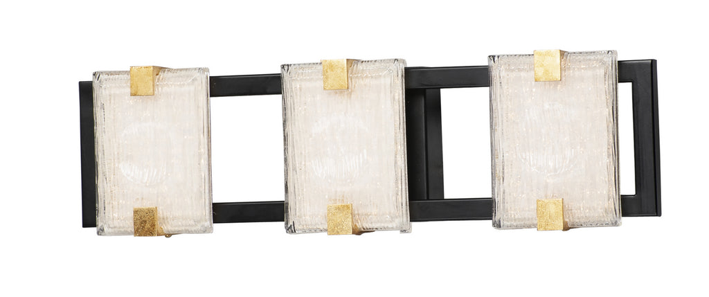 Radiant 3-Light LED Bath Sconce in Black / Gold Leaf