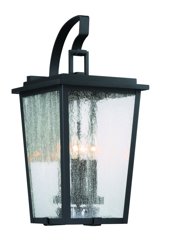 Cantebury 4-Light Outdoor Wall Mount in Coal with Gold & Clear Seeded Glass