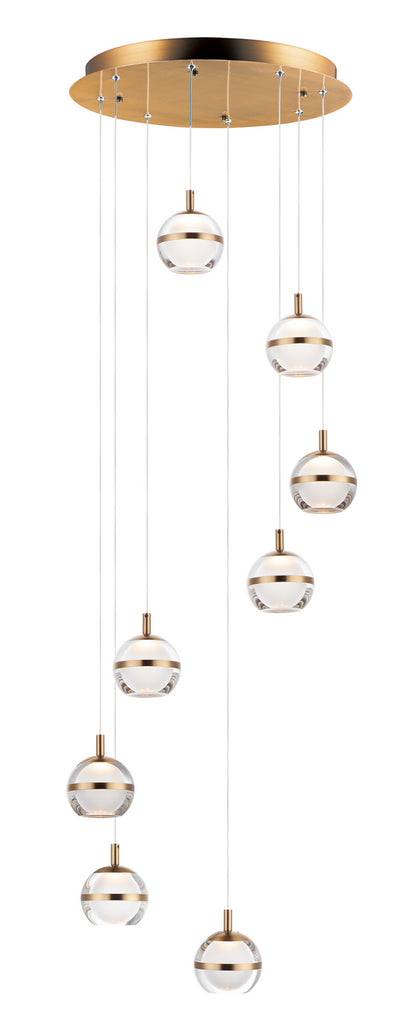 Swank LED 8-Light Pendant in Natural Aged Brass