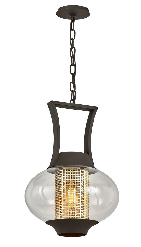 Horton 1-Light Hanger in Texture Bronze with Clear Glass