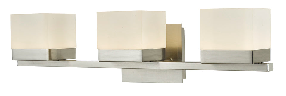 Cubic 3-Light Vanity Light With Square Edge Lite Dimmable LED Acrylic Shade In Brushed Nickel
