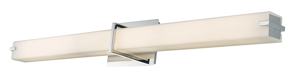 Squire 38 Inch Vertical Or Horizontal Mount Square Glass Vanity Light With High Output Dimmable LED In Chrome