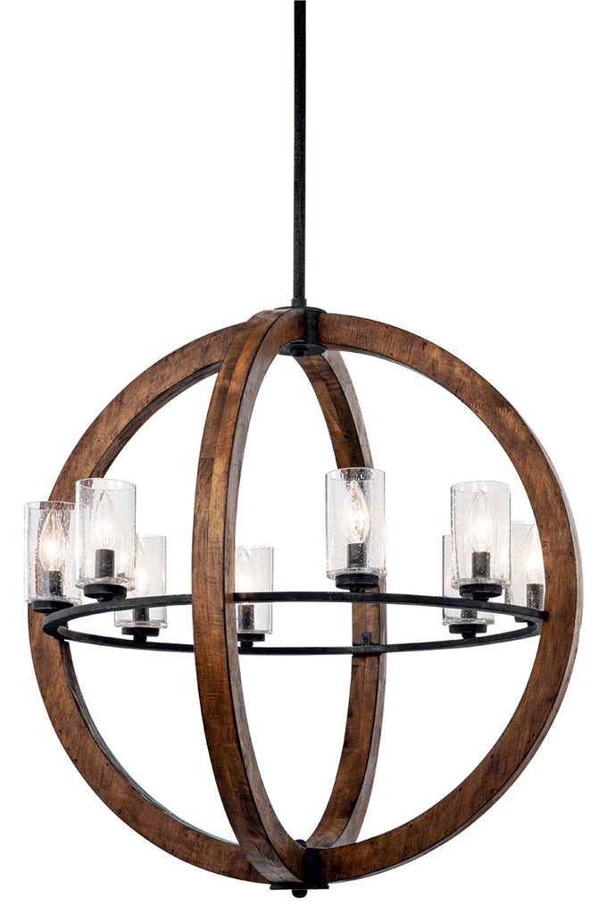 Grand Bank Chandelier 8-Light in Auburn Stained Finish