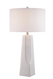 Tyrell Table Lamp in White Ceramic with White Fabric Shade, E27 A 150W