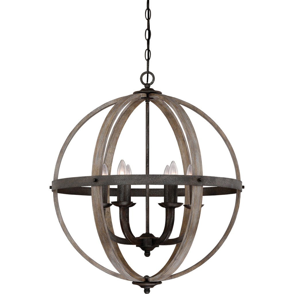 Fusion 6-Light Pendant in Rustic Black