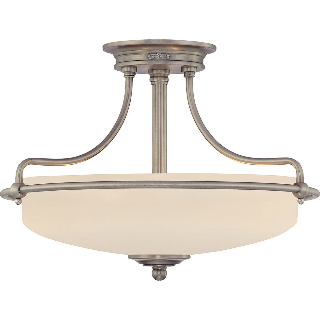 Griffin 3-Light Semi-Flush Mount in Antique Nickel