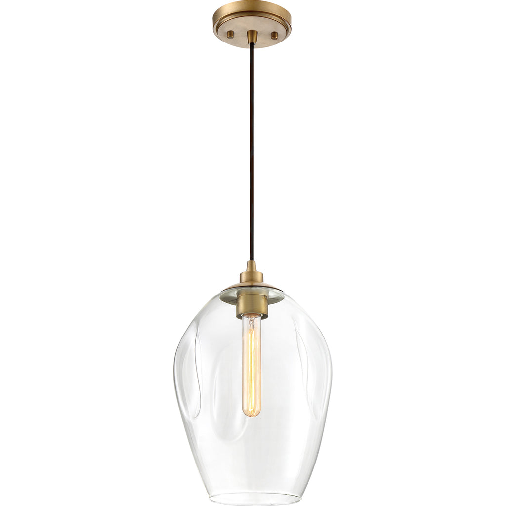 Nostalgia 1-Light Mini Pendant in Weathered Brass