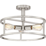 New Harbor 3-Light Semi-Flush Mount in Brushed Nickel