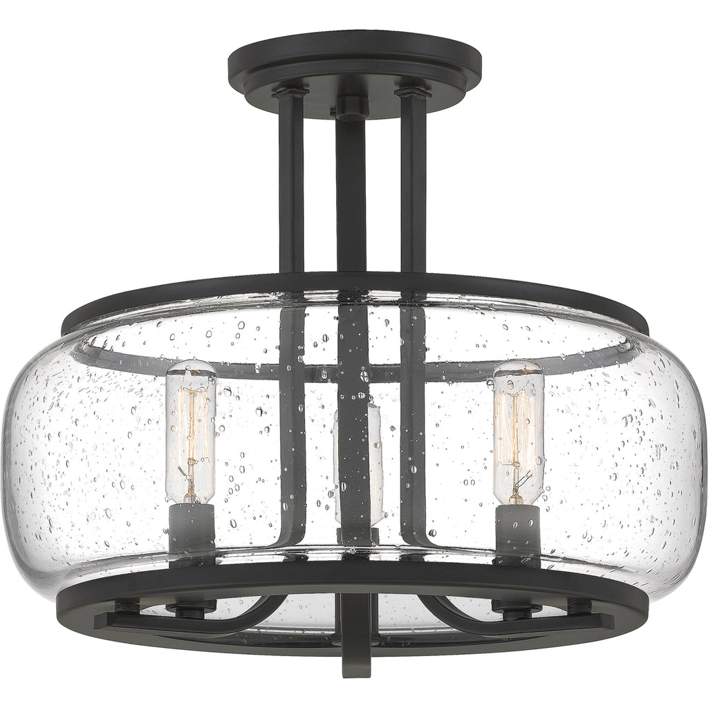 Pruitt 3-Light Semi-Flush Mount in Matte Black