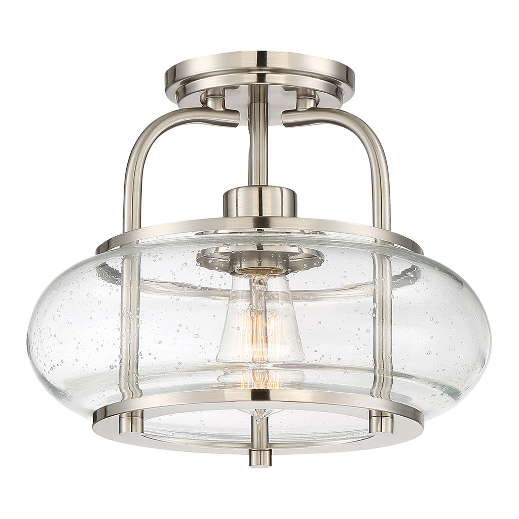 Trilogy 1-Light Semi-Flush Mount in Brushed Nickel