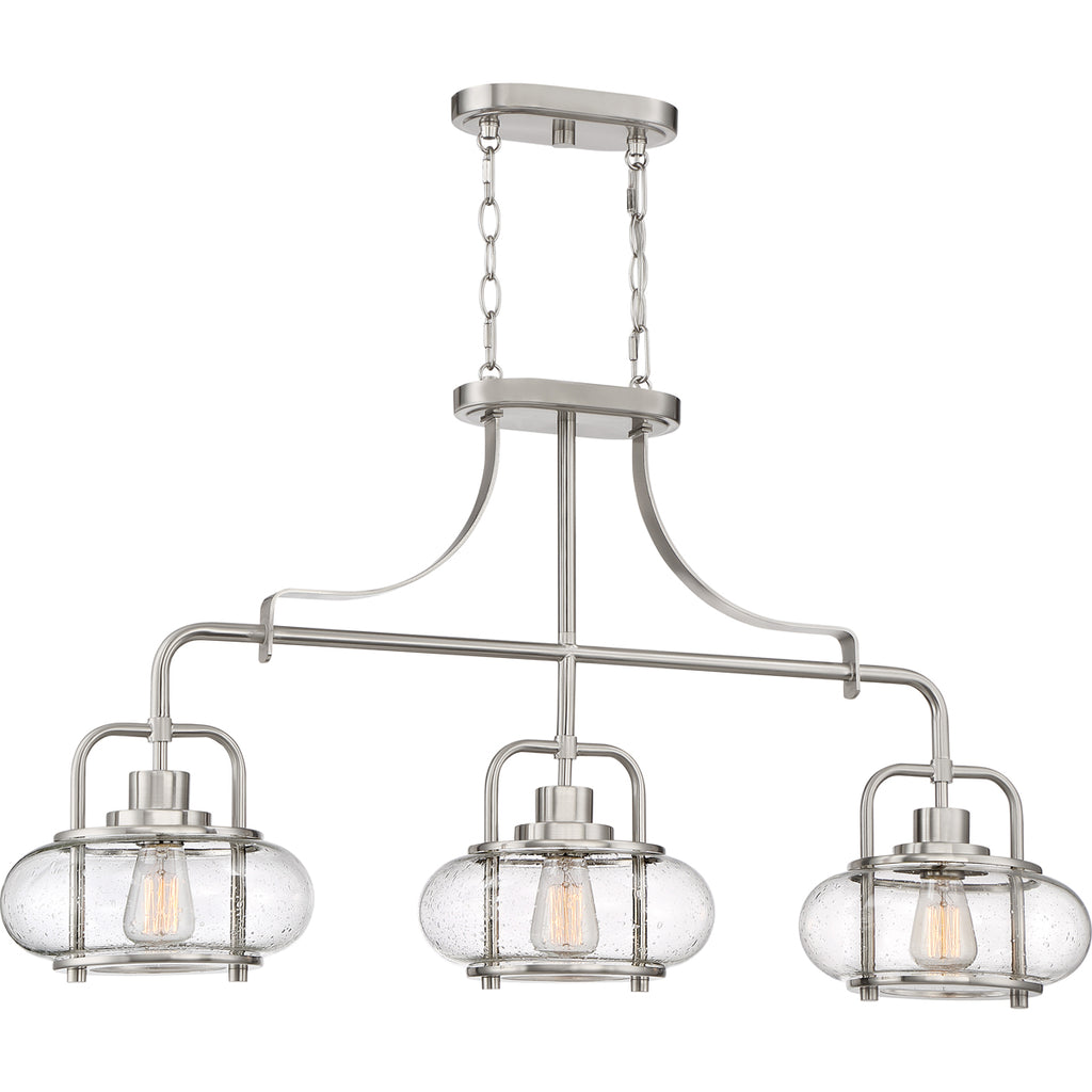 Trilogy 3-Light Island Light in Brushed Nickel