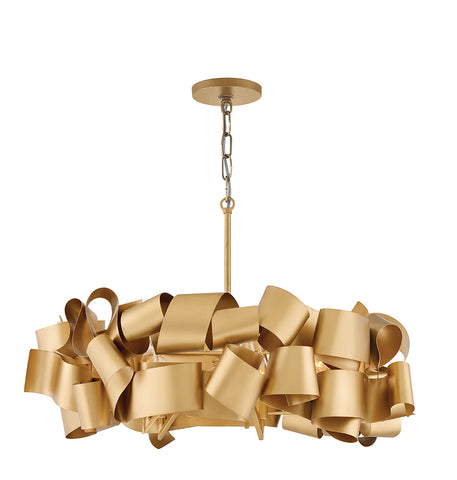 Delfina Drum Chandelier in Deluxe Gold