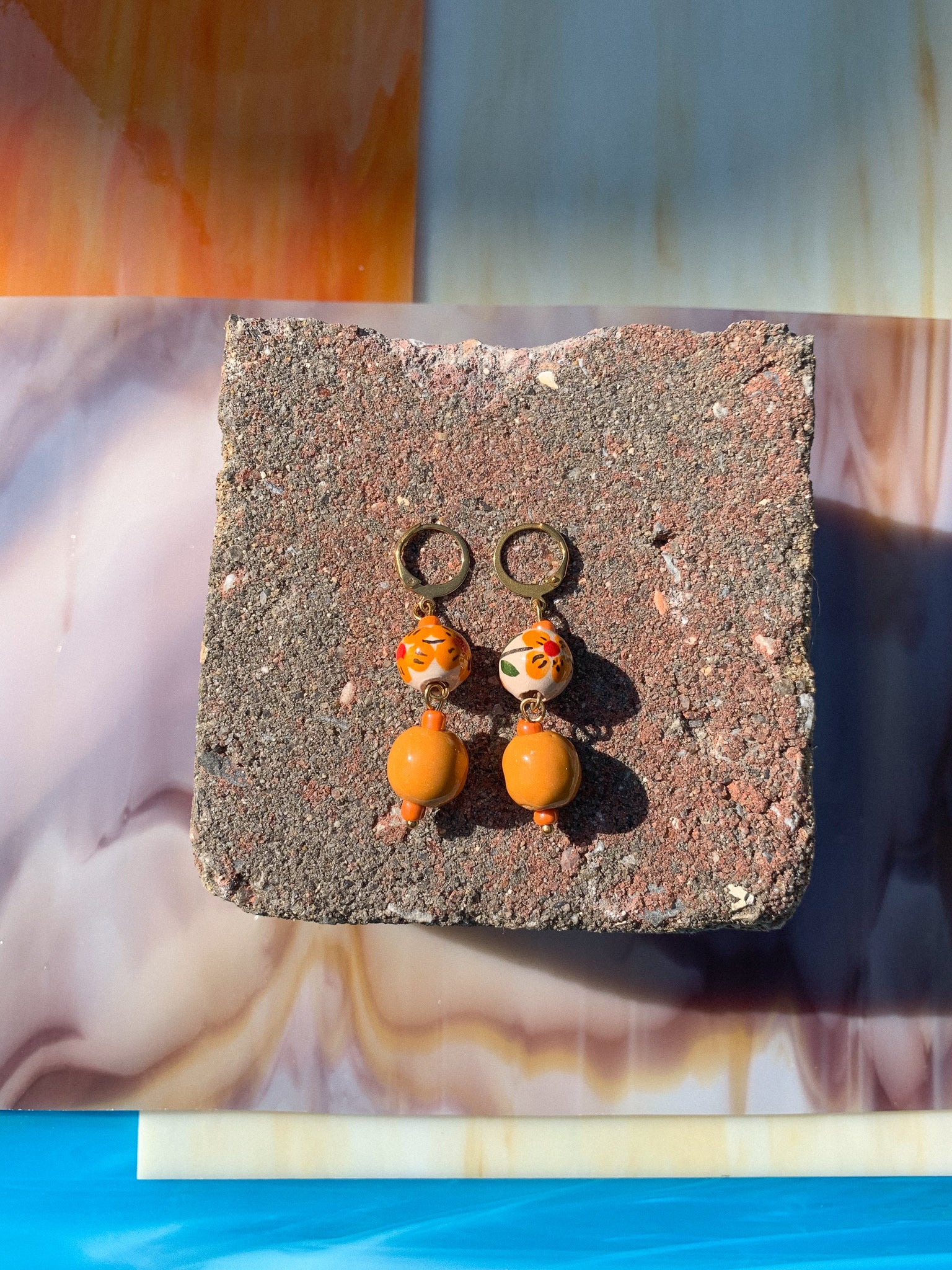 Estella - handmade earrings with orange ceramic beads