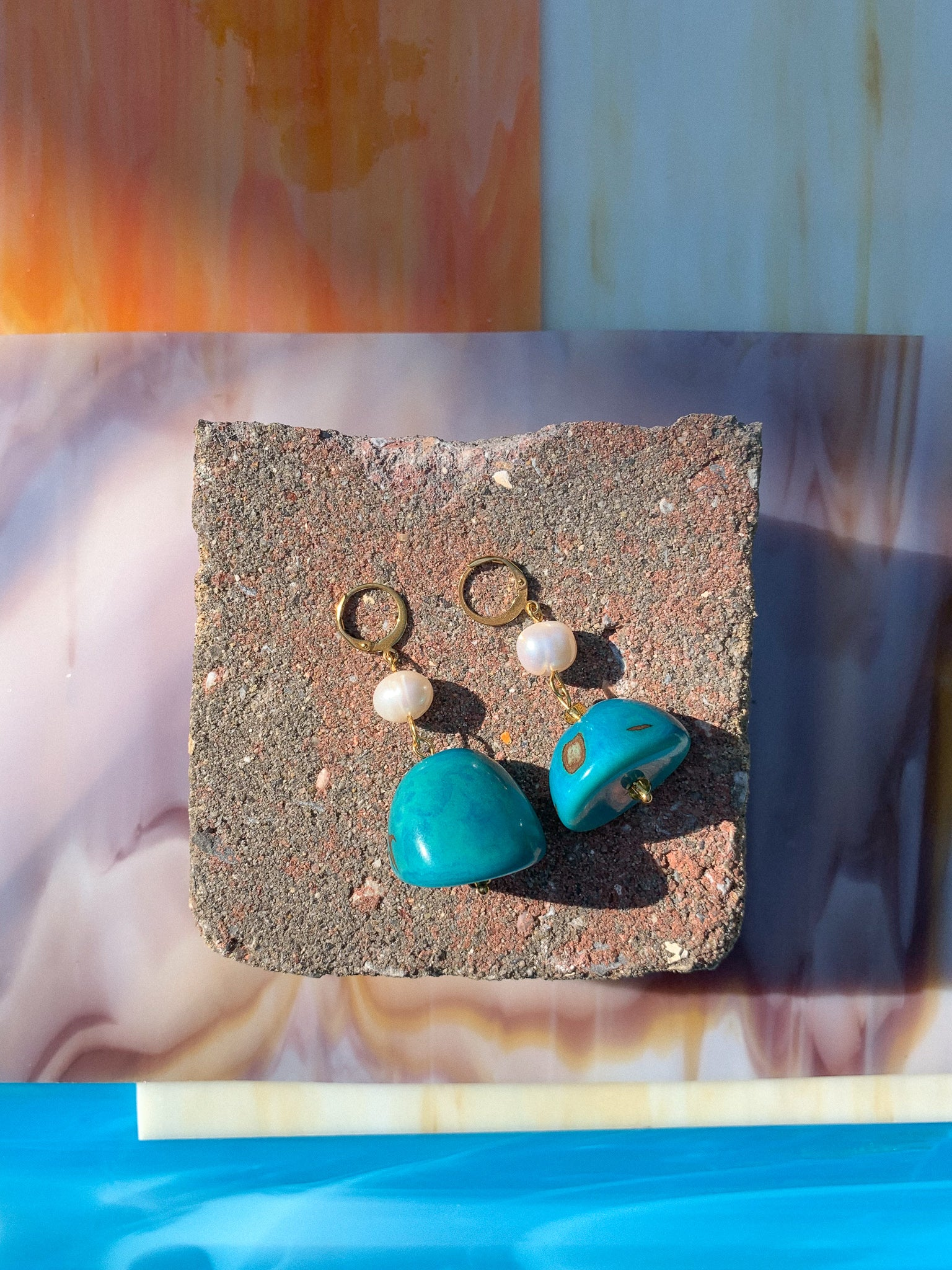 tagua nut handmade earrings in turquoise