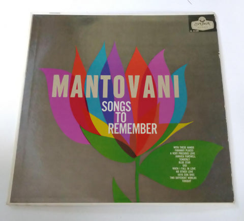 "Mantovani And His Orchestra ‎– Songs To Remember 12"" LP Vinyl Record"