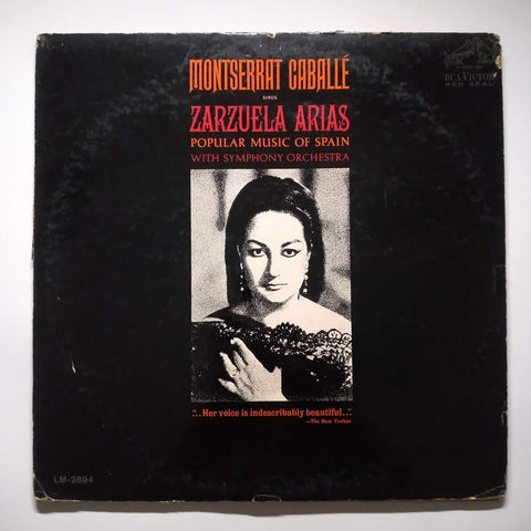 "Montserrat Caballé ‎– Zarzuela Arias (Popular Music Of Spain) 12"" LP Vinyl Record"