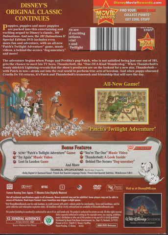 101 Dalmatians II: Patch's London Adventure DVD, Good Condition