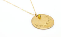 hand-stamped gold-filled charm necklace with phrase fall jewelry