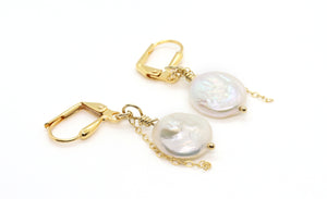 freshwater pearl gold-filled chain earrings
