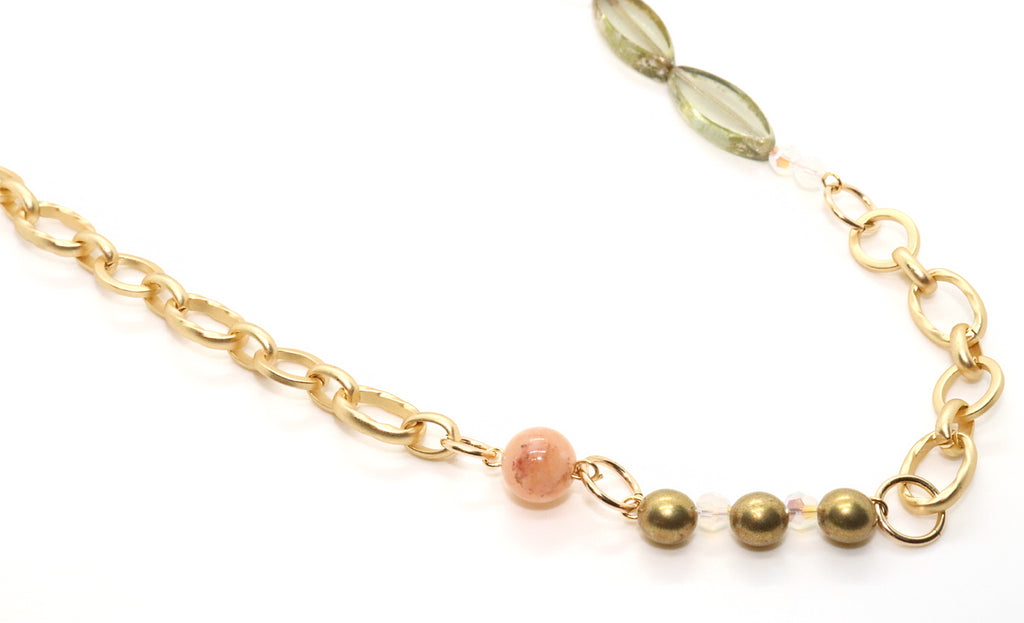 Coral and rose gold beaded necklace chain for women