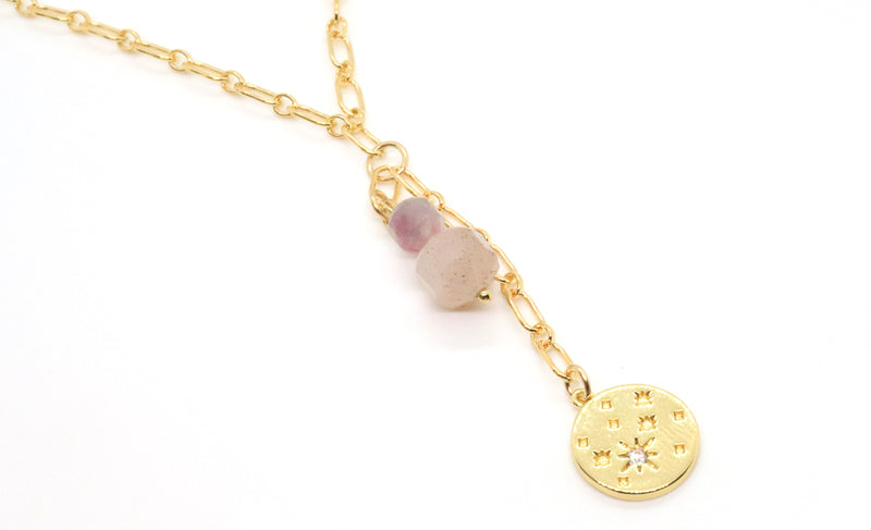 purple lepidolite gemstone bracelet with gold tassel chain
