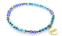Turquoise blue crystal women bracelet with logo charm