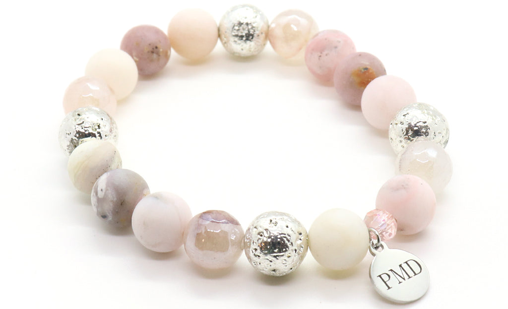 pink opal and blush quartz gemstone bracelet for women