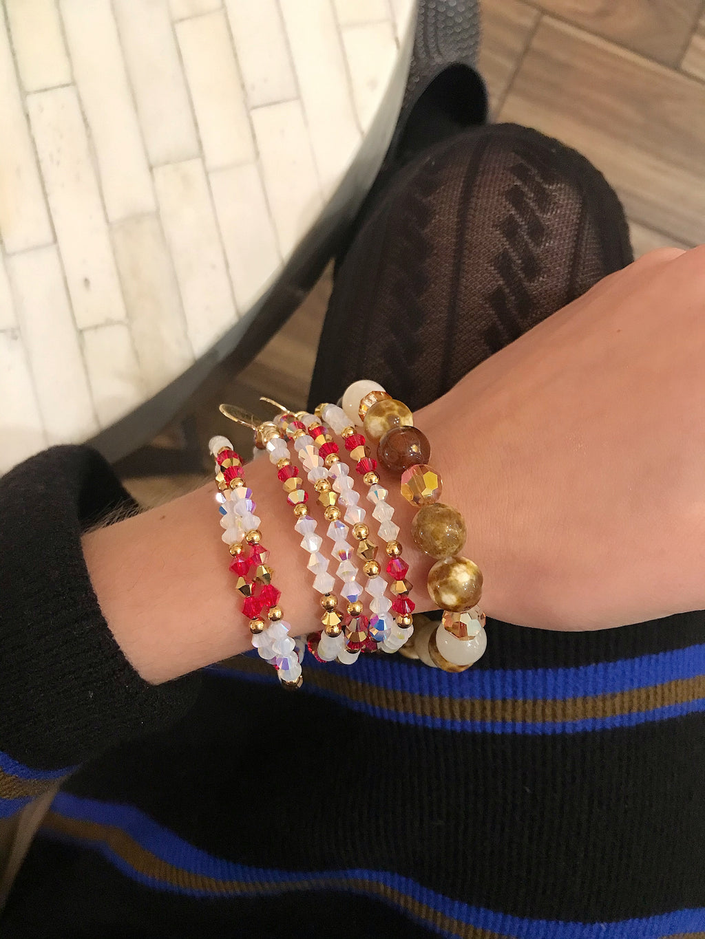 red siam swarovski crystal bracelet with gold details handmade in Florida