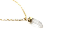 Clear Crystal women pendant necklace with gold chain