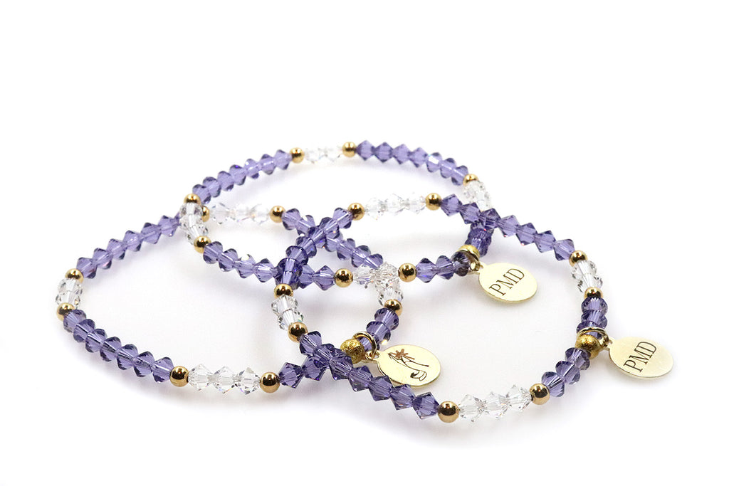Purple Tanzanite crystal beaded bracelet for women