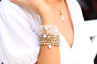 white crystal stretchy bracelet with charm handmade for women