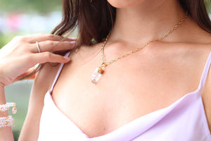 crystal quartz pendant necklace for women