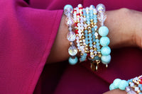 Bright Blue Amazonite Beaded Bracelet