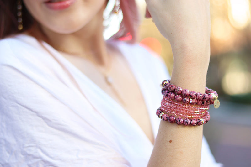 soft pink gemstone bracelets handmade for women