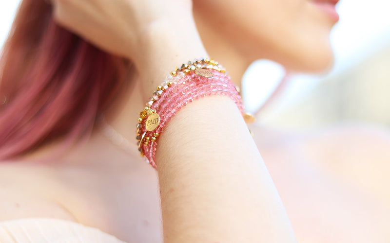 soft rose gold swarovski crystal bracelet for women