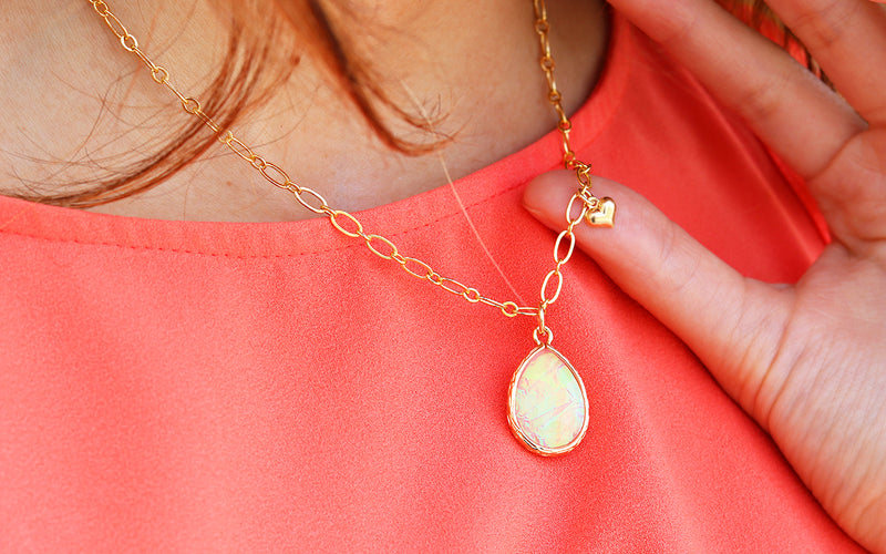 Light Pink Opal Glow Necklace gold finished handmade in Tampa, FL for mom