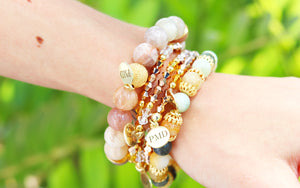 beaded gemstone bracelet stack handmade in Tampa, FL