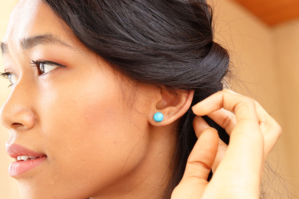 Turquoise blue earring studs handmade in Tampa, Fl