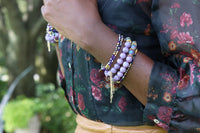 purple gemstone gold tassel chain bracelet