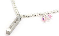 stainless steel silver pendant with pink crystal for women