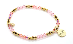 mother and daughter rose pink stretchy swarovski crystal bracelet handmade from Tampa, FL