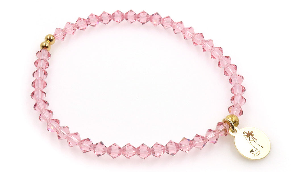 Light rose pink crystal women beaded bracelet with logo charm