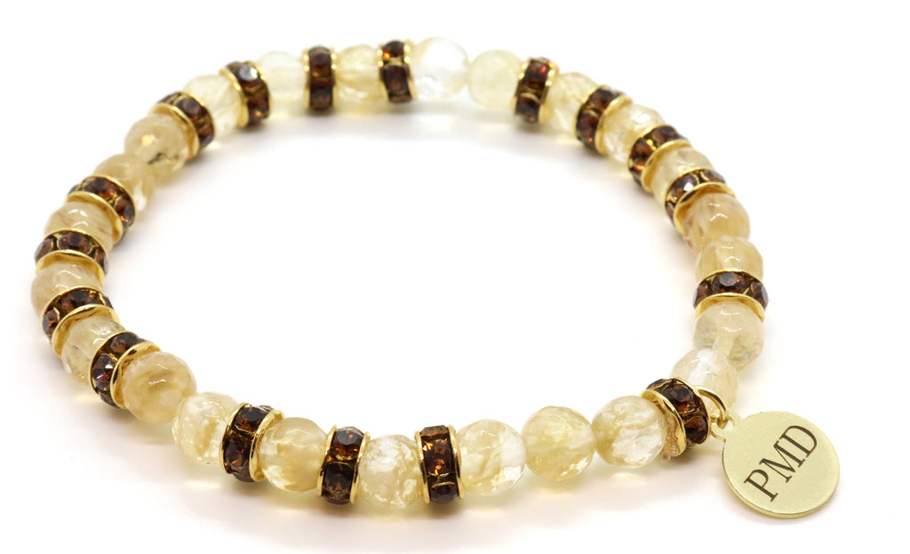 smoky topaz and champagne quartz beaded bracelet for women