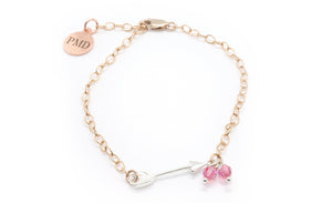 pink ribbon bracelet and chain bracelet bundle
