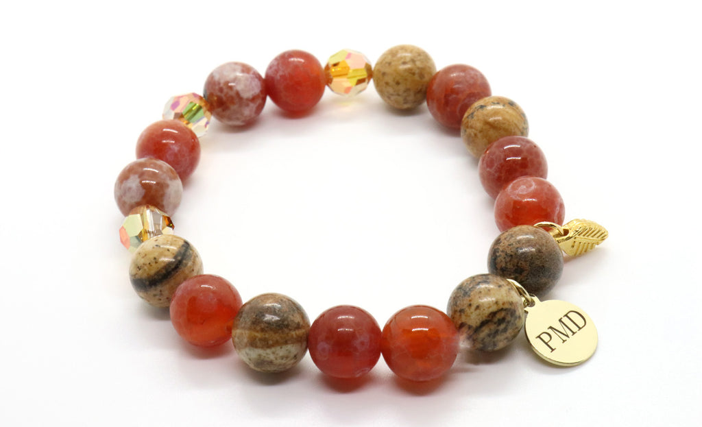 Fire red agate bracelet for fall for women