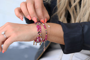 sterling silver arrow pink bracelet and swarovski crystal for women and mothers
