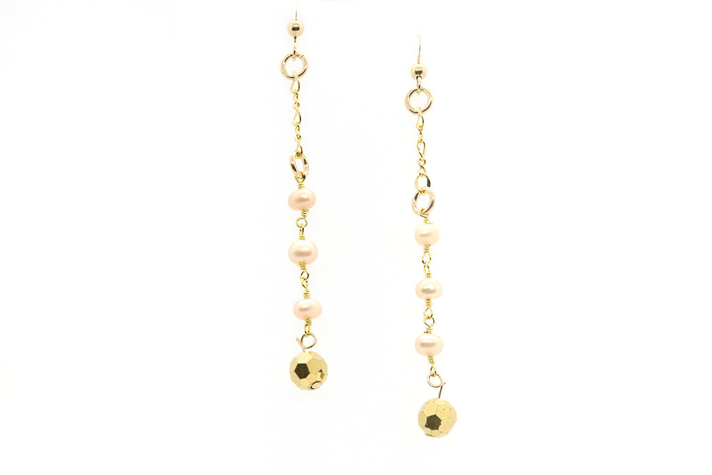 Keep Shining Gold Pink Pearl Earrings